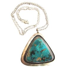 Arturo Rivera Turquoise Sterling Large Pendant Necklace