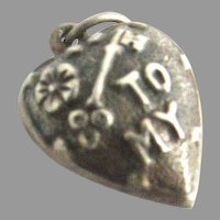 Victorian Sterling Silver Puffy Heart Charm Key To My
