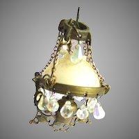 Antique Brass Bristol Type Dollhouse Chandelier Aurora Borealis Crystal