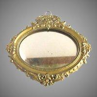 Antique Bronze German Ormolu Dollhouse Mirror