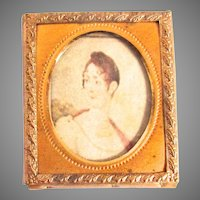 Dollhouse Portrait Miniature Faux Painting Wall Decor Tin Type Frame