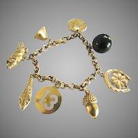 Coro Gold Tone Lucky Charm Bracelet