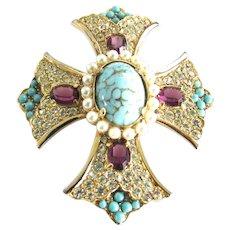Vintage Kramer rhinestone Maltese Cross Brooch