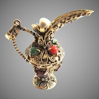 14K Gold Charm Etruscan Revival Gemstone Ewer Pitcher Pendant