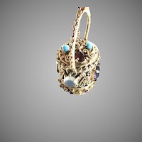 14K Gold Charm Etruscan Revival Gemstone Covered Basket Box Pendant