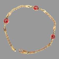 14K Yellow Gold Enamel Ladybug Bracelet