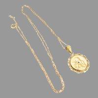 14K Gold Raphael Guardian Angel Cupid Cherub Pendant Charm Necklace