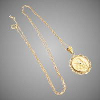 14K Gold Raphael Angel Cupid Cherub Pendant Charm Necklace