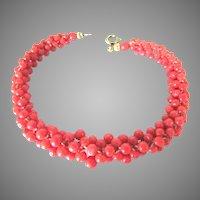 Mediterranean Coral Bead Woven Bracelet