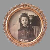 Sweet Bronze or Brass Filigree Antique Photo Frame Child Girl Photo Forget Me Not