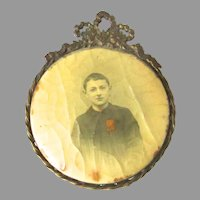 French Bronze Photo Picture Frame Celluloid Paris Child Boy Depose