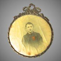 French Bronze Photo Picture Frame Celluloid Paris Child Boy Depose
