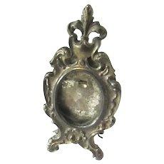 French Silver Plate Photo Picture Frame Miniature for Portrait Fleur De Lis