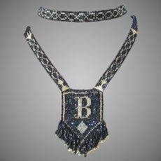 Stunning Art Deco Beaded Sautoir Flapper Necklace Monogram B Midnight Blue Gold