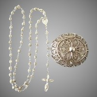 Exquisite 800 Silver Filigree Italian Rosary with Box Set