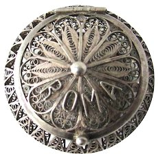 Exquisite 800 Silver Filigree Italian Rosary Box Roma