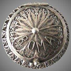 Exquisite 800 Silver Filigree Italian Rosary Box Roma