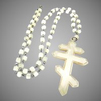 Gorgeous Large Mother Of Pearl French Cross Lorraine Rosary Bead Necklace