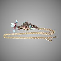 Articulated Enamel Koi Fish Pendant 14K Gold Chain