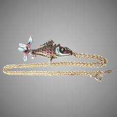Articulated Enamel Koi Fish Pendant 14K Gold Chain