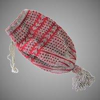 Stunning Red Cut Steel Bead Victorian Evening Bag Purse Large