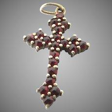 Beautiful Vintage Garnet Cross Charm Pendant