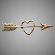 Heart Arrow Brooch 14K Symmetalic Sterling Pin