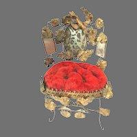 19thc Globe De Mariee Ormolu Velvet French Wedding Pillow