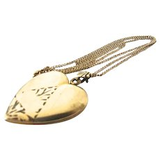 Art Deco Gold Filled Heart Locket Necklace