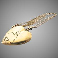 Art Deco Gold Filled Heart Locket Necklace