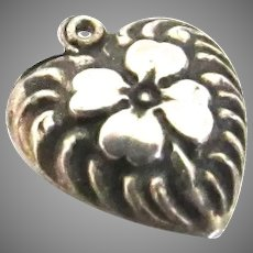 Victorian Sterling Silver Puffy Heart Charm Clover