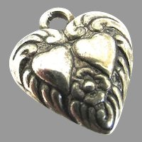 Victorian Sterling Silver Puffy Heart Charm Double Hearts Forget Me Not