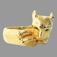 Rare Castlecliff Leopard Clamper Hinge Bracelet Gold Tone Cat