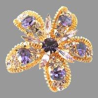 Stunning Austrian Crystal Flower Brooch Amethyst Purple 3D