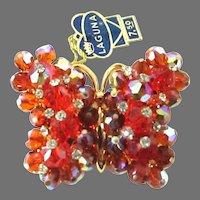 AB Red Laguna Rhinestone Bead Butterfly Brooch Pin Label