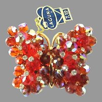 AB Red Laguna Rhinestone Bead Butterfly Brooch Pin Label