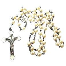 Rare Sterling Guilloche Enamel Art Deco Rosary Pearl