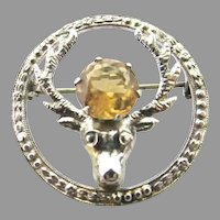 Scottish Citrine Stag Brooch Pin Sterling Silver