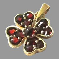Garnet Clover Charm Sweet Rose Cut Vermeil 4 Four Leaf Shamrock