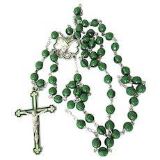 Green Enamel st Patricks Sterling Silver Rosary Glass Shamrock Clover