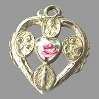 Enamel Silver Heart Shape Religious 4 Way Medal Sacred Heart Miraculous Cross