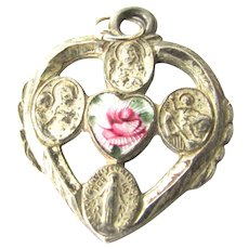 Enamel Silver Heart Shape Religious 4 Way Medal Sacred Heart Miraculous Cross