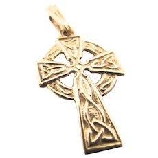 Vintage 9K Gold Celtic Cross Charm Pendant Irish Charm Pendant