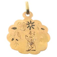 French 18k Gold Oropa Madonna Medal Charm Pendant