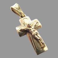 14K Yellow Gold Crucifix Cross Italy