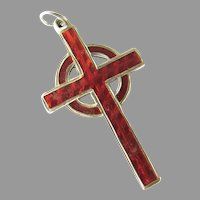 Red Enamel Celtic Cross Art Deco Sterling Silver Vintage