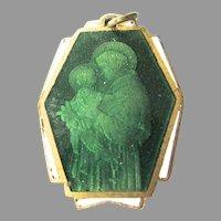 Rare Art Deco Green Enamel St Anthony of Padua Medal Basilica Ovunque Proteggimi