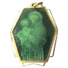 Rare Art Deco Green Enamel St josephs Medal Basilica Ovunque Proteggimi
