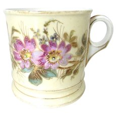 Antique Floral Porcelain Ironstone Coffee Mug