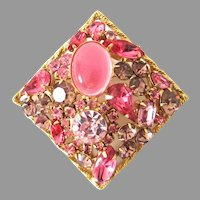 Gorgeous Two Toned Pink Rhinestone Cabochon Weiss Brooch Pin Square